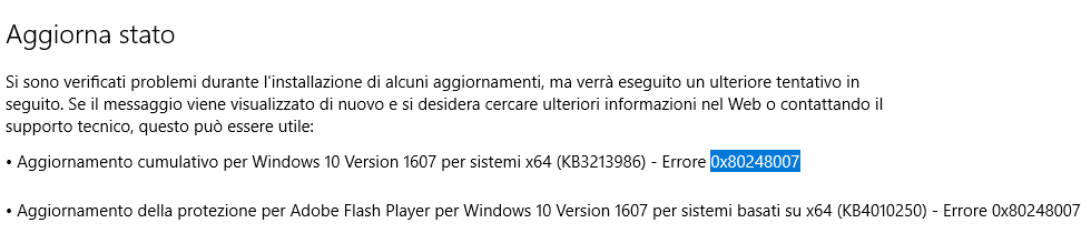 errore 0x80248007 - Windows Update Error