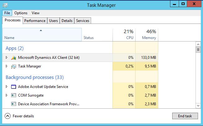 killare una sessione di AX - Task Manager