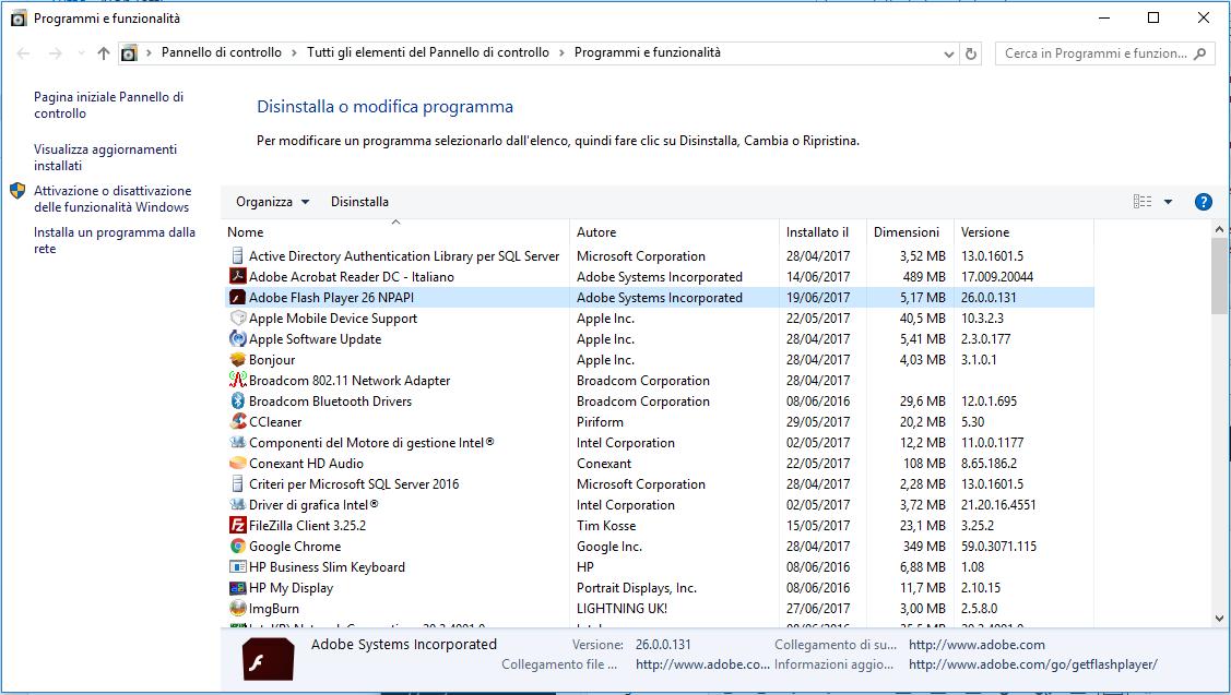 Disinstallare Adobe Flash Player - Programmi e Funzionalità