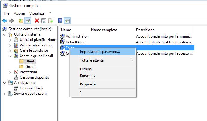 Cambiare password - Impostazioni Password