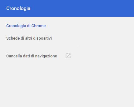 Cancellare la cronologia di Chrome - Cronologia