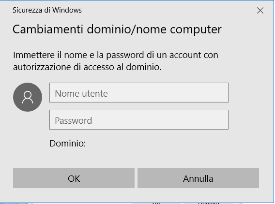dominio - Credenziali Amministratore