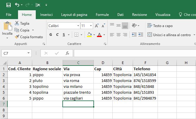 Convertire un file excel in csv - File da convertire