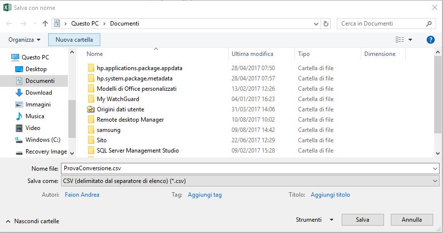Convertire un file excel in csv - Documenti