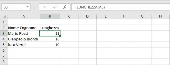 funzione lunghezza - esempio 1