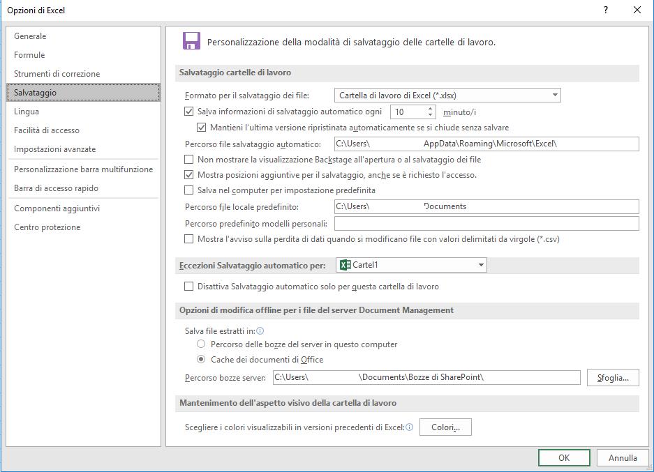 opzioni di salvataggio di excel - Opzioni Excel
