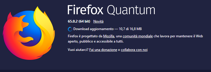 Aggiornamenti di Firefox - Download in corso