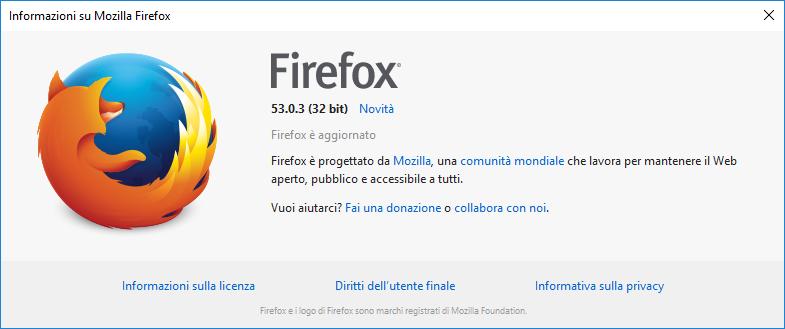 Aggiornamenti di Firefox - Informazioni