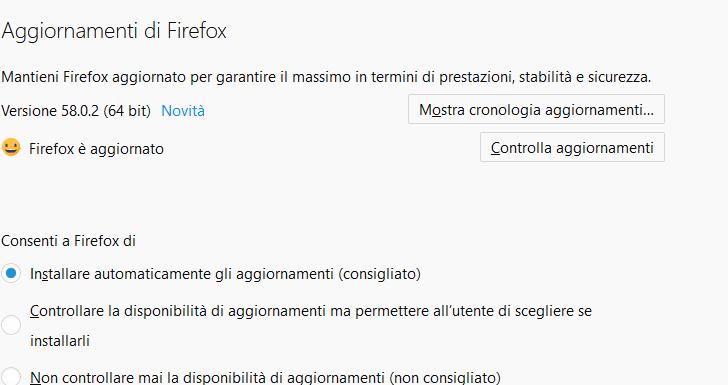 Aggiornamenti di Firefox - Aggiornamenti Automatici