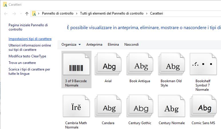Nuovo Carattere - elenco Caratteri