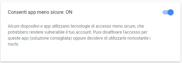 Gmail su Outlook - Consenti app meno sicure