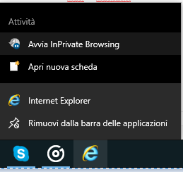 Navigare in incognito su Internet Explorer - Private Browsing
