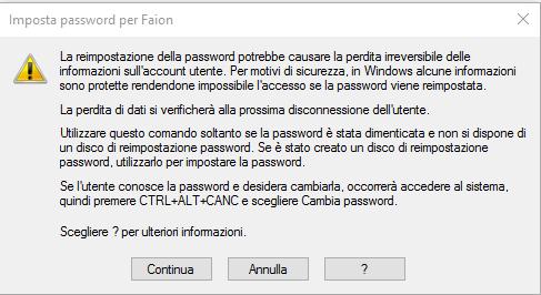 Cambiare password - Imposta Password