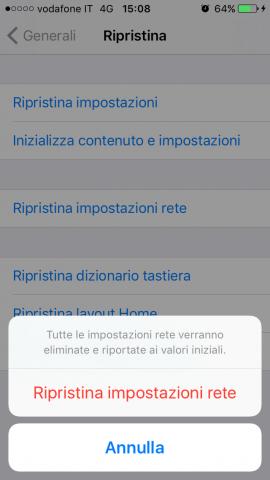reset delle impostazioni dell'iphone - Rete