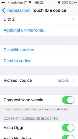 Lunghezza codice di sblocco di iphone - Touch ID e codice