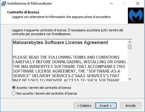 Installare MalwareBytes - Contratto di licenza