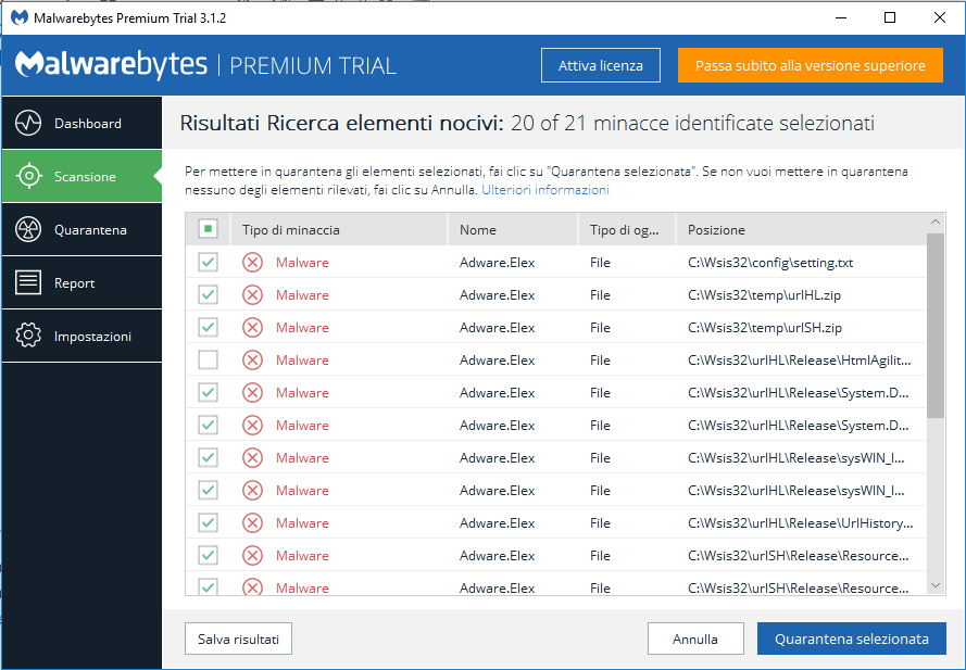Installare MalwareBytes - Report Scansione