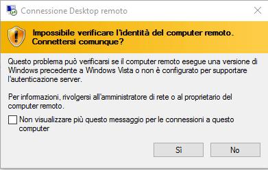 desktop remoto - Richiesta conferma connessione
