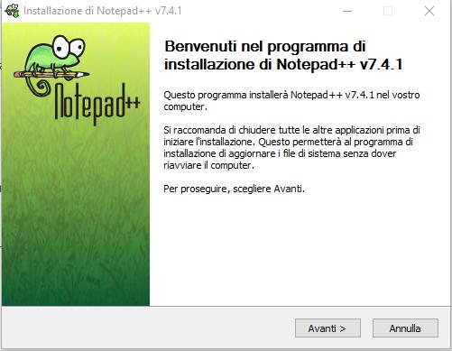 Installare Notepad - Benvenuto