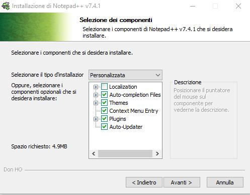 Installare Notepad - Scelta dei componenti