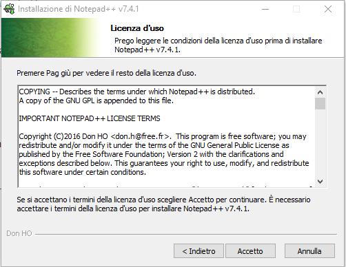 Installare Notepad - Licenza d'uso