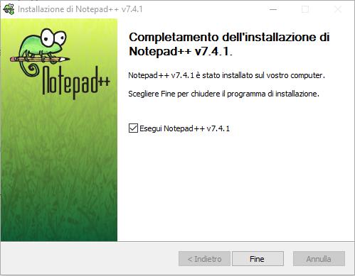 Installare Notepad - Fine