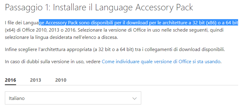 lingua di Office - Language Pack