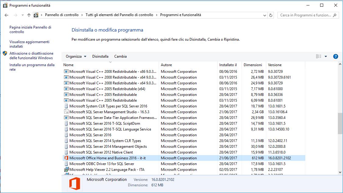 Versione di Office - Programmi e Funzionalità