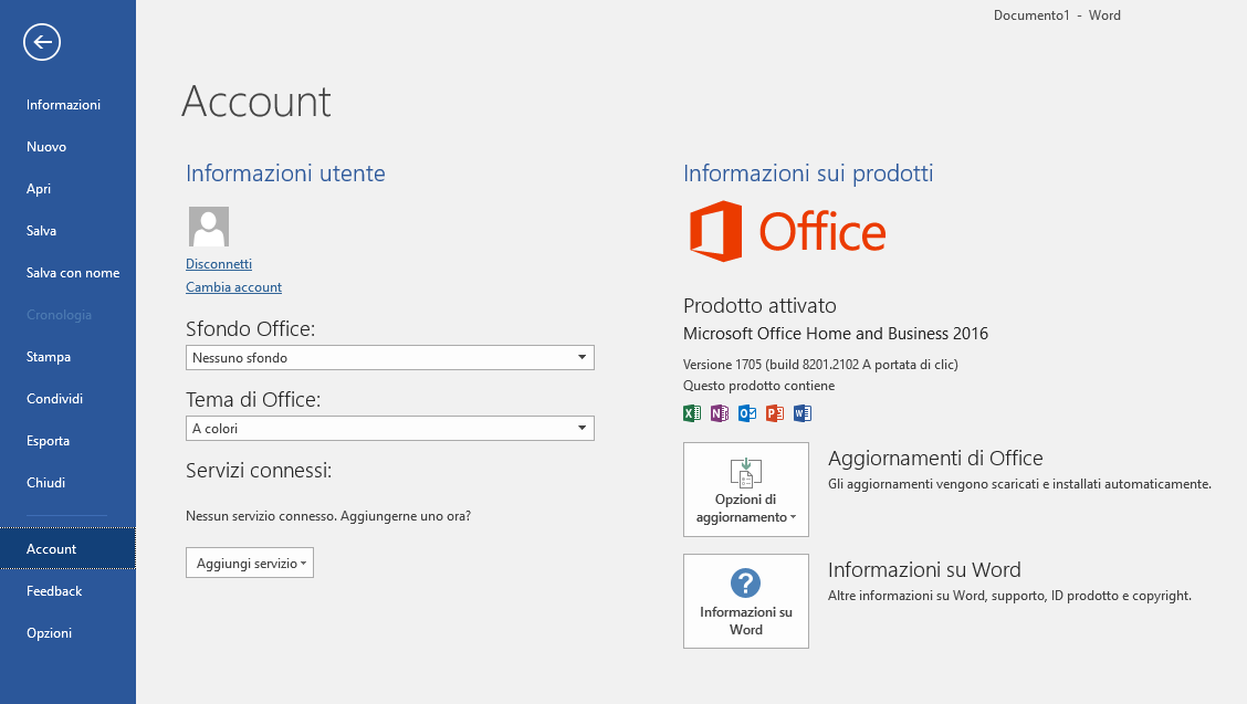 Versione di Office - Account