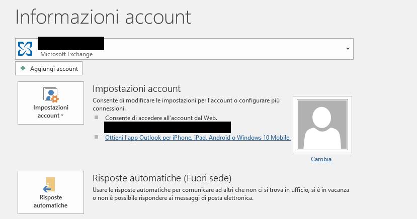 Fuori Sede in Outlook - Informazioni Account