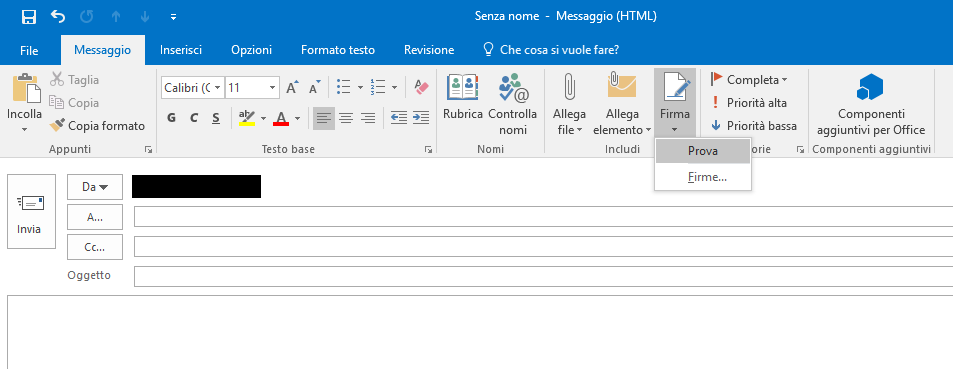 Firma in Outlook 2016 - Nuova Mail