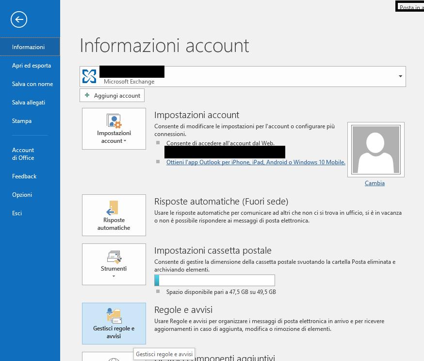 regola in Outlook - Informazioni Account