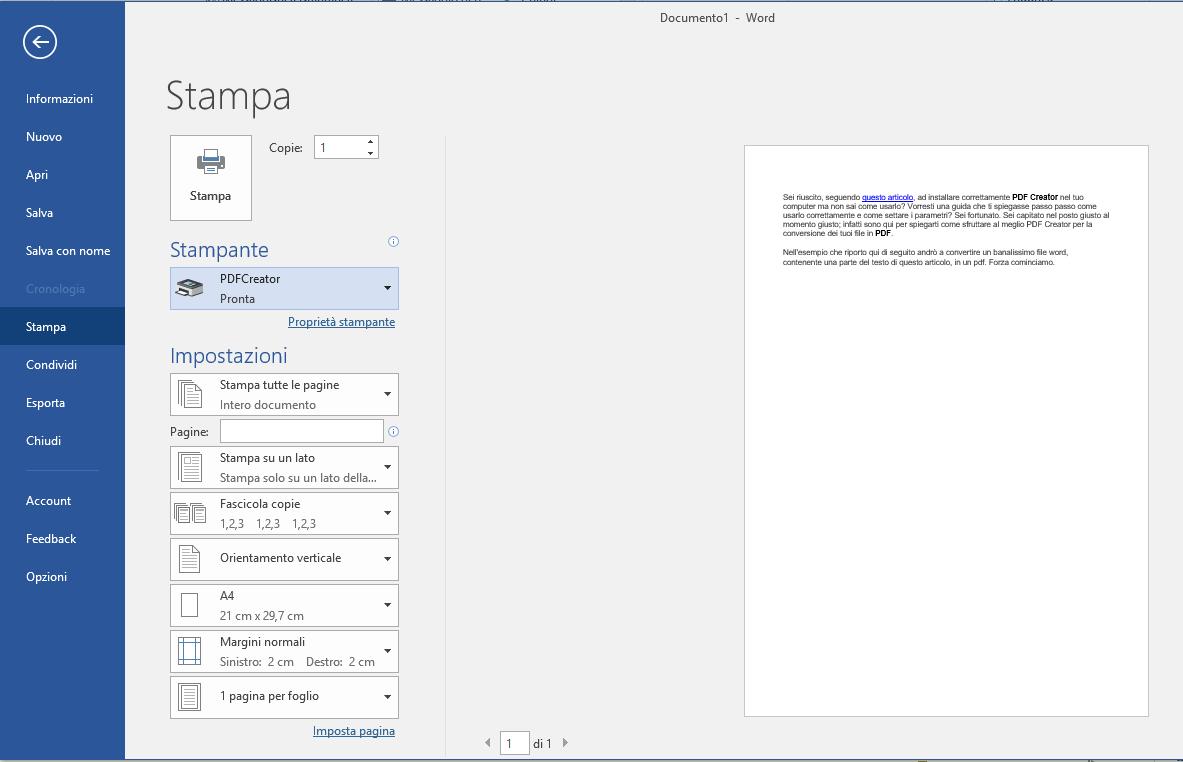 Usare PDF Creator - Word Stampa