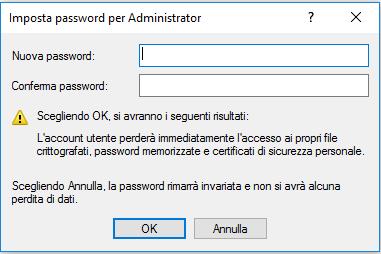 administrator - Password e conferma