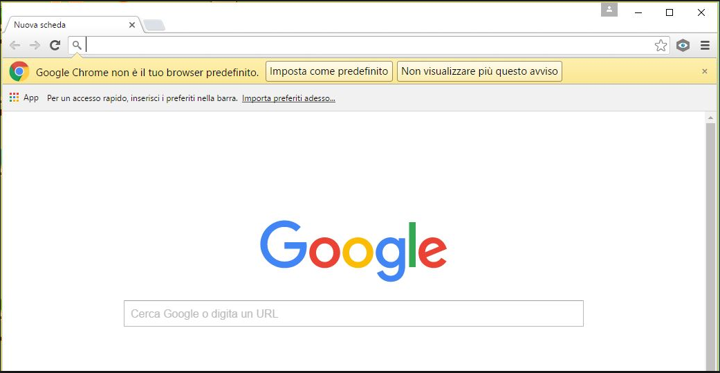 Chrome - Imposta come predefinito
