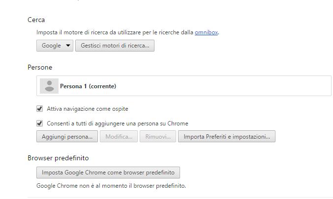 Chrome - Impostazioni