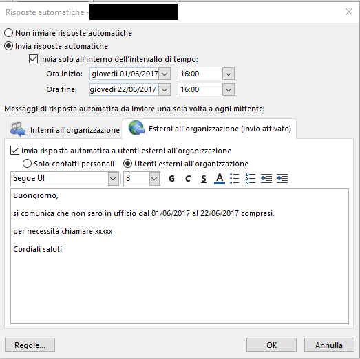Fuori Sede in Outlook - Risposte automatiche esterne
