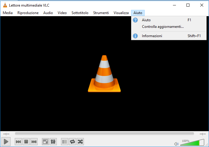 Aggiornare VLC - Menu Aiuto