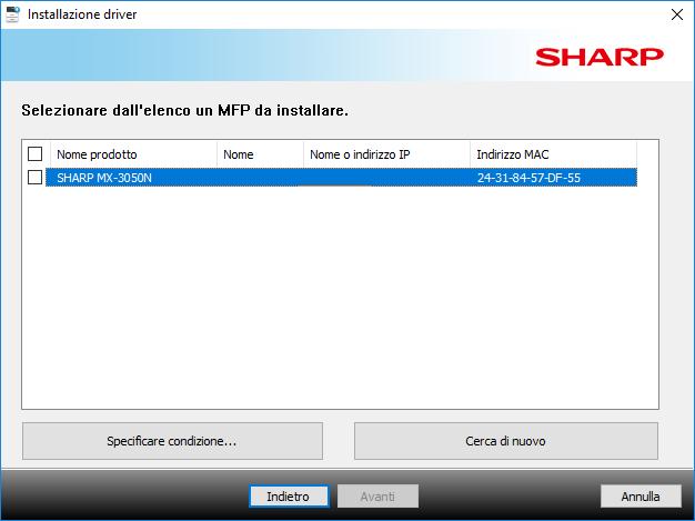 Sharp Mx3050N - Scelta Stampante