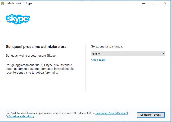Skype - Installazione Passo 1