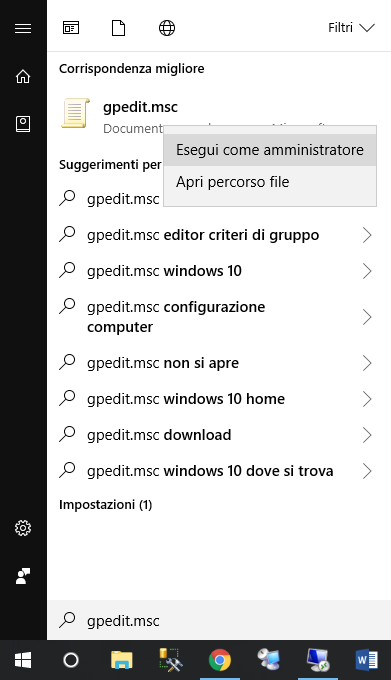 Salvare le credenziali in Windows 10 - Gpedit