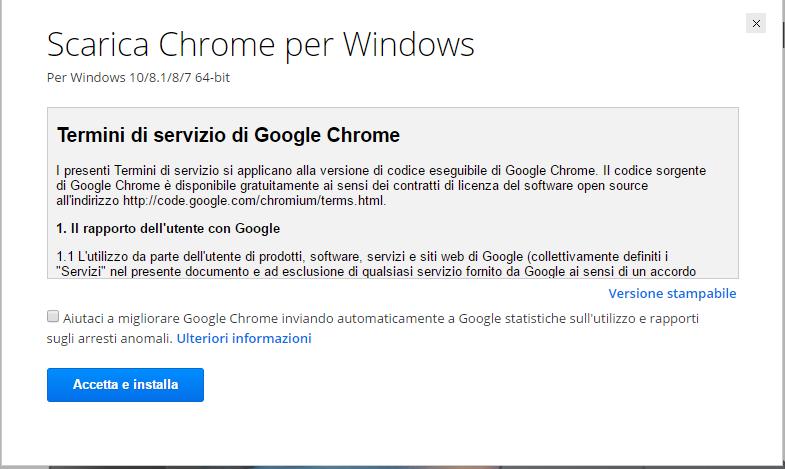 Installare Google Chrome - Accetta e Installa
