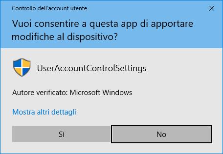 Controllo account utente - Conferma Modifiche
