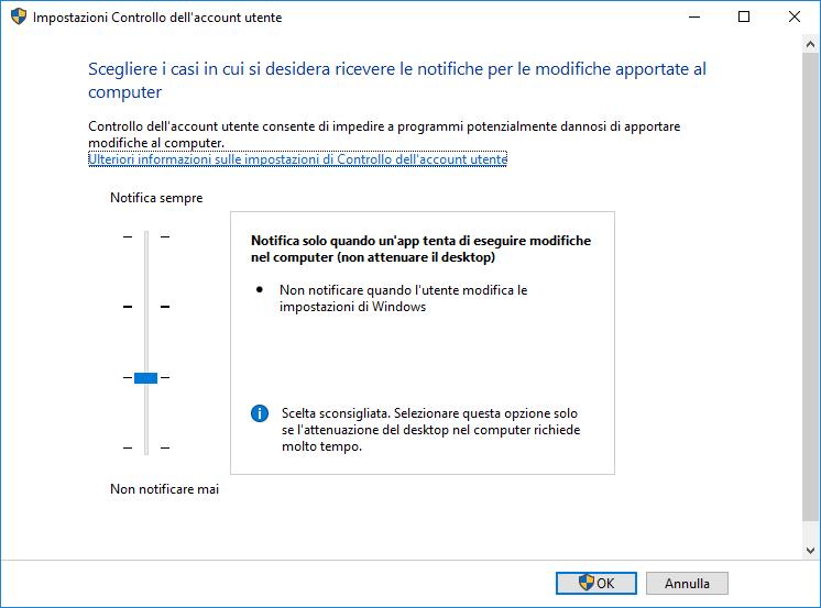 Controllo account utente - Modifica impostazioni Controllo Utente