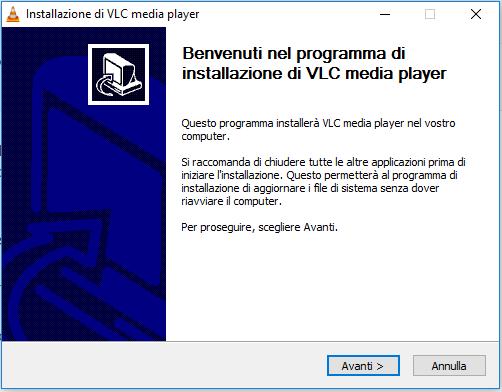 installare VLC - Benvenuto