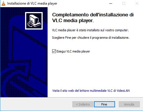 installare VLC - Fine