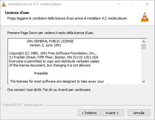installare VLC - Contratto di licenza