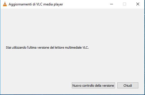 Aggiornare VLC - nessun Aggiornamento