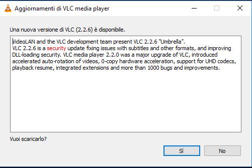 Aggiornare VLC - Aggiornamento disponibile