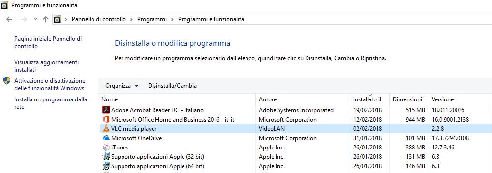 Disinstallare VLC - Programmi e Funzionalità